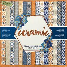 🥇bloc 30 papier feuille scrapbooking scrap recto baroque bleu orange 230gsm🥇