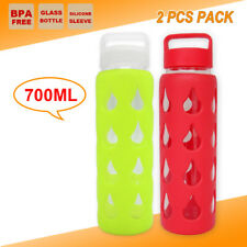 2 X 700ml Glass Hydration Camping Hiking Water Bottle Gym Kettle Cup BPA