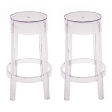 2 X Charles Style Ghost Counter Stool in Clear Finish