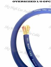 10 ft OFC 1/0 Gauge Oversized BLUE Power Ground Wire Sky High Car Audio