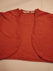 NEIMAN MARCUS Women's OPEN FRONT Cotton/CASHMERE Large 3/4 Sleeve SHORT Sweater