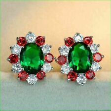 4.20Ct Oval Cut Green Emerald Diamond Halo Stud Earrings 14K White Gold Finish