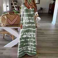 Women Tie Dye V-Neck Long Sleeve Casual Dress Ladies Baggy Maxi Dress Plus Size
