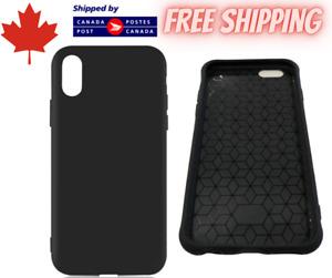For iPhone 6 7 8 X XR Samsung Models - Matte Soft TPU Black Phone Case Cover