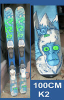 snow skis K2 INDY Kid's 100 cm Rocker Tip & Tail w Marker adjustable bindings