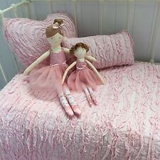 3 pe Pink Frill Cot Quilt & 2 Cushion Lulu Shabby Chic Nursery Crib Bedding Set