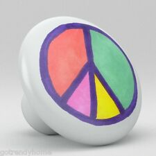 Black And White Peace Sign Ceramic Knobs Pulls Kitchen Drawer Cabinet Vanity 521