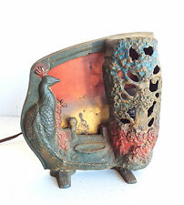 ANTIQUE CAST IRON ART DECO PEACOCK LAMP BY A.W. REISER