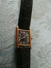 Authentic Must de Cartier 925 Silver Gold Plated Tank Ladies Watch