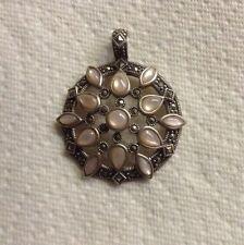 Medallion Pendant Enhancer Marcasite  Pink Mother Of Pearl Sterling Silver  Gift
