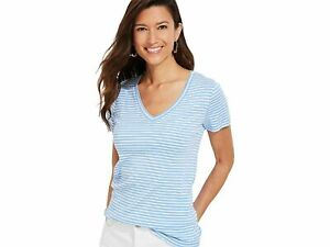 New with Tags Vineyard Vines Striped Simple V-Neck Short-Sleeve Tee - Blue - XS
