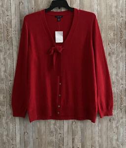 LANDS END Plus Size 1X Red Button Front Cardigan Sweater Cotton Cashmere Blend