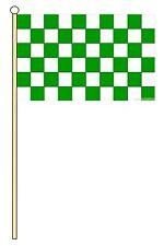 "GREEN AND WHITE CHECKERED medium HAND WAVING FLAG 9""X6"" 22.5cm x 15cm"