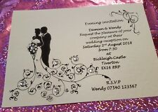 50 Personalised Silhouette Heart Wedding day evening Invitations free envelopes