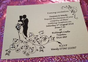 12 Personalised Silhouette Heart Wedding day evening Invitations free envelopes