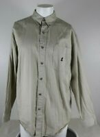 Walt Disney World Men's Size Large Tan Shirt Mickey Mouse Embroidered BD LS