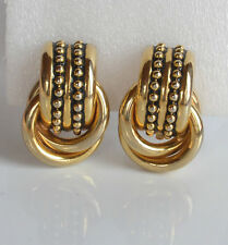 vintage high end door knocker & endless knot statement clip earrings gold tone