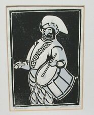 """D.ADAMS """"DRUMMER"""" LIMITED EDITION HAND SIGNED WOODBLOCK DATED 1980"""