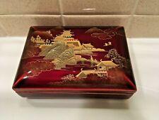 Maruni Lacquerware Red & Gold & Black Playing Card Trinket Box - Japan