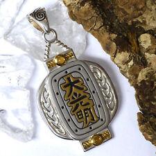 Peter Stone Dai Ko Myo Meister-Symbol Amulett  925 Silber 18k vergoldet Citrin