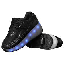 Teemway LED Flashing Roller Wheel Sneaker Black Kids Size Light up Shoes