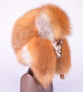 Saga Furs Natural Finnest Red Fox Fur Unisex Trapper Ushanka Furry Hat S/M/L