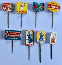 Vintage and very rare small advertising 8 stick pin collection. Mint.