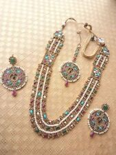 Indian Bollywood Gold Tone Multilayered Necklace Jewelry Set