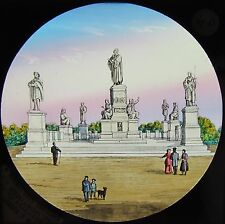 HAND COLOURED Glass Magic Lantern Slide UNIDENTIFIED MONUMENT C1890 DRAWING