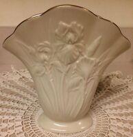 """Lenox """"Whispering Irises"""" Fine China Vase 1993 Limited Edition 6 1/4"""" Tall Ivory"""