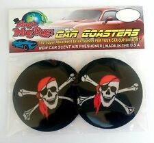 Auto Coasters, Air Freshener by Magic Mug Rugs, Pirate Jolly Roger, absorbent
