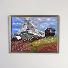 Original Contemporary Painting, Alpine Scene, Mountains, Barry Johnson, Bob Ross