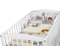 BABY 3PC BEDDING SET PILLOW DUVET BUMPER FIT COTBED 140x70cm Safari Beige