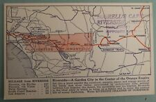 Bourell's Cafeteria Map of RIVERSIDE CALIFORNIA CA Vintage Linen Postcard
