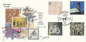 (41179) GB Fourpenny FDC ARTIST SIGNED Art & Craft  No. 17 of 100