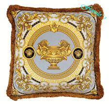 """VERSACE Medusa La Coupe Pillow - 17.7"""" - Grey/White/Gold"""