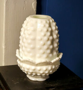 Vintage Snow White Milk Glass Fenton Hobnail Fairy Lamp cute size and perfect