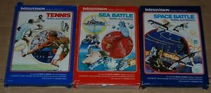 3 x  Intellivision Games   Space Battle ,  Sea Battle + Tennis Boxed  Complete