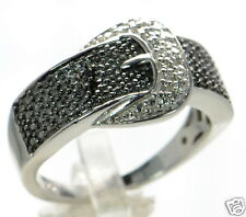 Solid 925 Sterling Silver Black & White Diamond Accent Buckle Ring Size-7 '