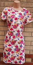 PRIMARK CREAM MULTI COLOUR FLORAL QUILTED FEEL TUBE BAGGY BODYCON TEA DRESS 12 M