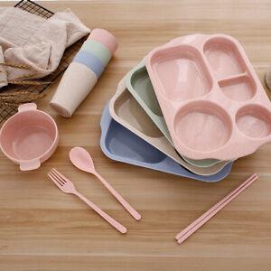 6PCS/SET KIDS DINNER PLATE DIVIDED DISH TRAY BABY FOOD FEEDING TABLEWARE UK