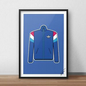 Adidas 1/5 INSPIRED WALL ART Print / Poster A4 A3 BLUE gazelle RETRO 90s JACKET