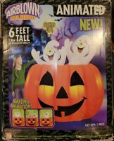 READ! Gemmy 6 foot Inflatable Airblown Animated Halloween Ghosts & Pumpkin