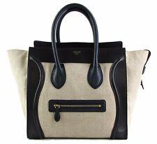 Celine Beige Tri-Color Linen Mini Luggage Tote Bag