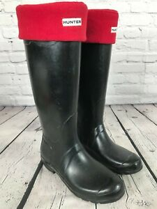 HUNTER Original Tall Black Rubber Wellington Rain Boots Women's Size 9 W23499