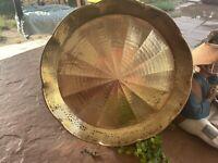 "Vintage Brass Platter Serving Tray 12 1/4"" X 1 1/2"" Hammered Wall Hanger Baking"