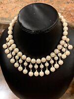 Vintage Etruscan Revival Faux Pearl Mesh Festoon Dangle Drop Necklace