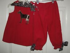 Bailey Boys red horse pony 2 pc outfit 18 mos girls top pants set equestrian 18M