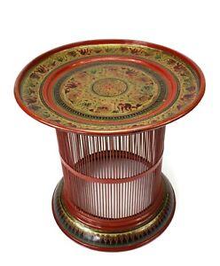 Burmese Lacquerware Table. Handmade in Burma. 57cm high x 59cm diameter. Superb.