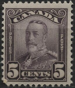 Canada #153 5c deep violet KGV Scroll issue MH of 1928
